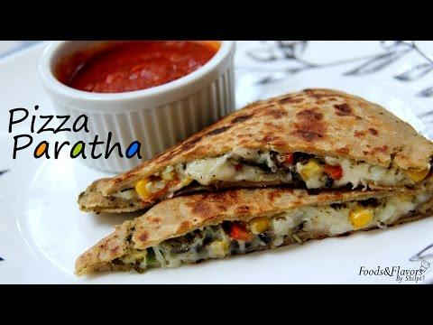Pizza Paratha Recipe-Indian Veg Brunch  Breakfast Recipes And Kids Lunch Box Snack Idea