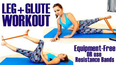 Slim Thighs & Brazilian Butt At Home Exercises – Optional Resistant Band Yoga Workout