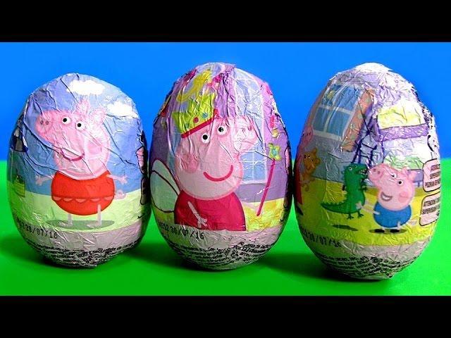 Peppa Pig Toys Surprise Eggs of Chocolate Nickelodeon George with Dinosaur and Princess Peppa 2015