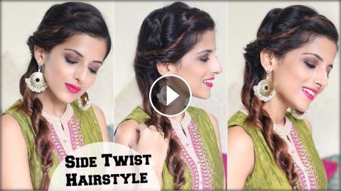 1 Min Everyday Quick Twist Hairstyle For Dussehra Durga Puja