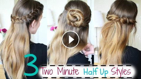 3 Easy Two Minute Half Up Hairstyles Running Late Hairstyles