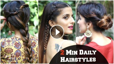 3 SIMPLE Hairstyles For Everyday For School, College, Work/ Kareena ...