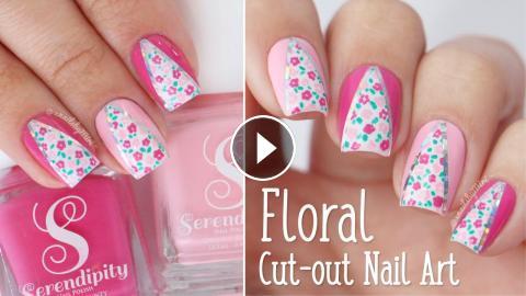 Floral Print Nail Art Using Peachy 000 Detail Brush By Mitty