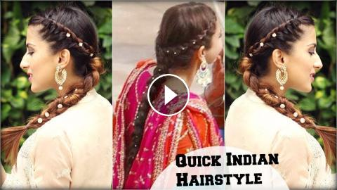 Quick Effortless Side Braid Indian Hairstyle For Medium To Long
