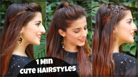 1 Min CUTE Everyday Simple & Effortless Hairstyles For School ...