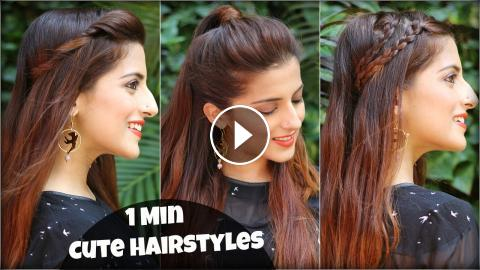1 Min Cute Easy Everyday Hairstyles For School College Work
