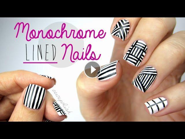 Monochrome Lined Nail Art