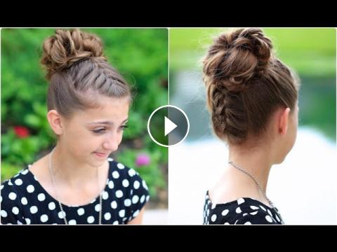 Double French Messy Bun Updo Hairstyles