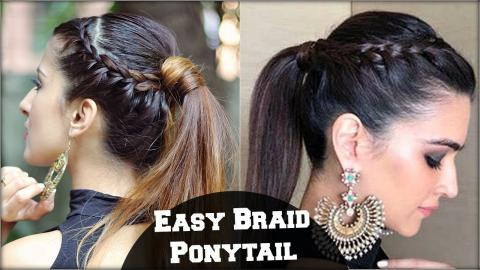 Easy Effortless Braided Ponytail Hairstyle For Medium Hair College Party Kriti Sanon Inspired