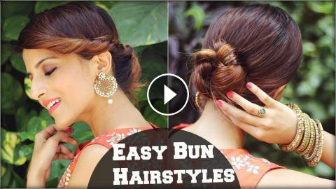 2 Min EASY Bun Hairstyles For Medium Hair Indian Wedding Occasions