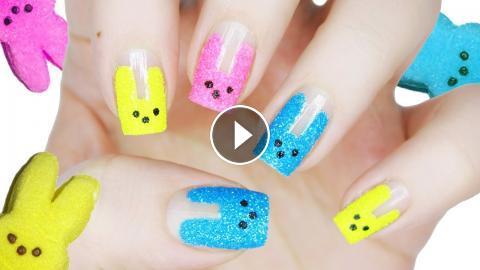 Easy Bunny Peeps Nail Art Easter Nails