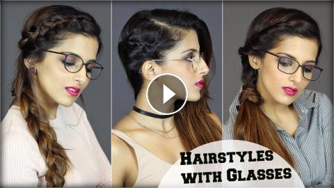 1 MIN EASY Everyday Hairstyles For People With Glasses For School ...