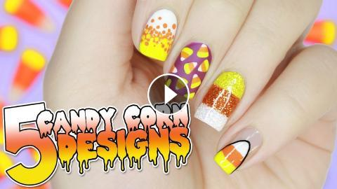 5 Easy Candy Corn Nail Designs For Halloween Halloween Nail Art