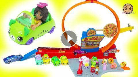 Shopkins Cutie Cars Hot Wheels Speedie Pizza Drive Thru Race Track Loop