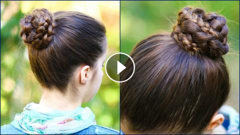 Quick Easy Braided Bun For School 2 Minute Hairstyle