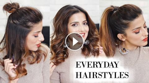 3 Different Everyday Hairstyles For School College Work With A