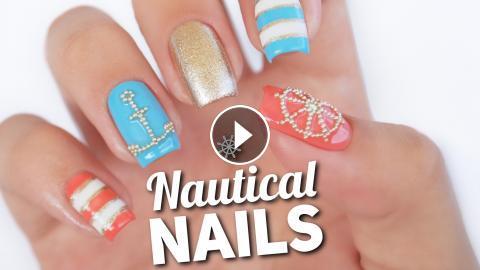 Nautical Nail Art Design Microbead Manciure