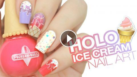 Holographic Ice Cream Drip Nail Art Live Love Polish