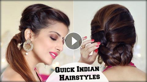 2 Elegant Indian Hairstyles With A Puff For Diwali For Medium To