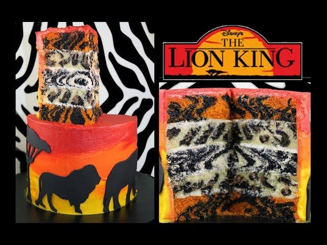 Lion King Safari Layer Cake - How to Make an Animal Print INSIDE Surprise Cake