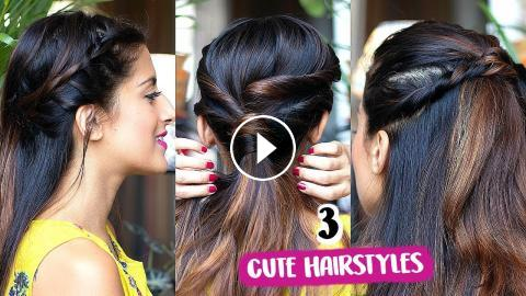 2 Min CUTE Everyday Hairstyles For School, College, Work/ Quick & Easy Indian Hairstyles