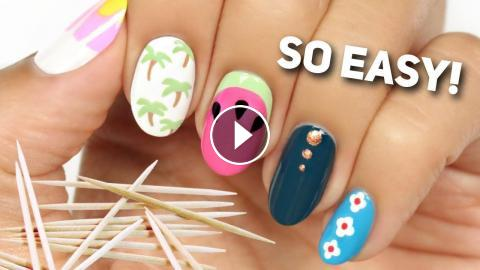 No Tool Nail Art Only A Household Item TOOTHPICK In Todays Tutorial Hannah Will Be Showing You 5 Easy And Cute Designs That