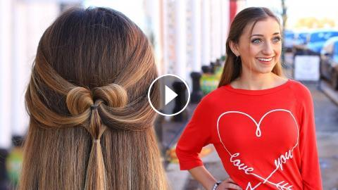How to Create a Pancaked Heart Half-Up Hairstyle | Valentine\'s Day ...