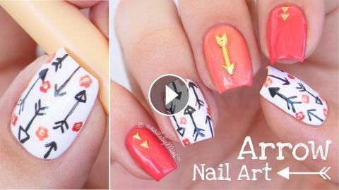 Arrow Nail Art Using Mitty Detail Brush Peachy 000